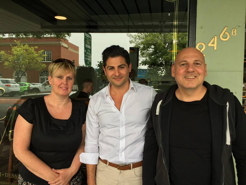 Hannibal Khoury photographed with Naji and Erica Rizk who have settled in South Australia